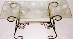 8mm glass kiln-formed table top on wrought iron legs